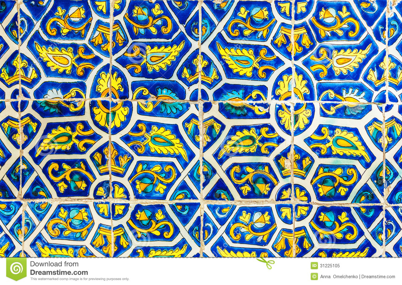 Mexican Floral Tile Abstract Background Stock Image