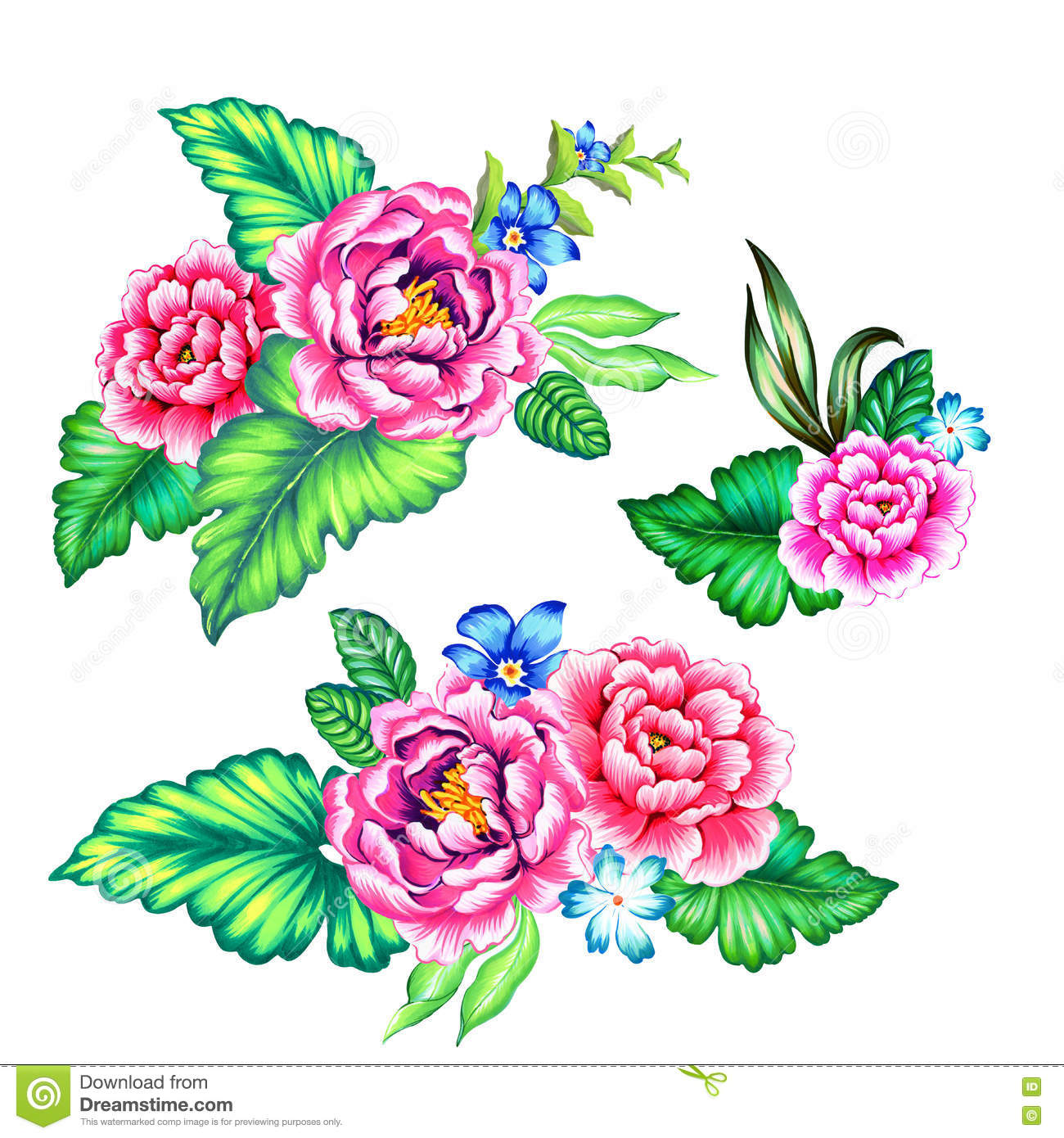 Mexican Flowers Bouquet Stock Illustration Image
