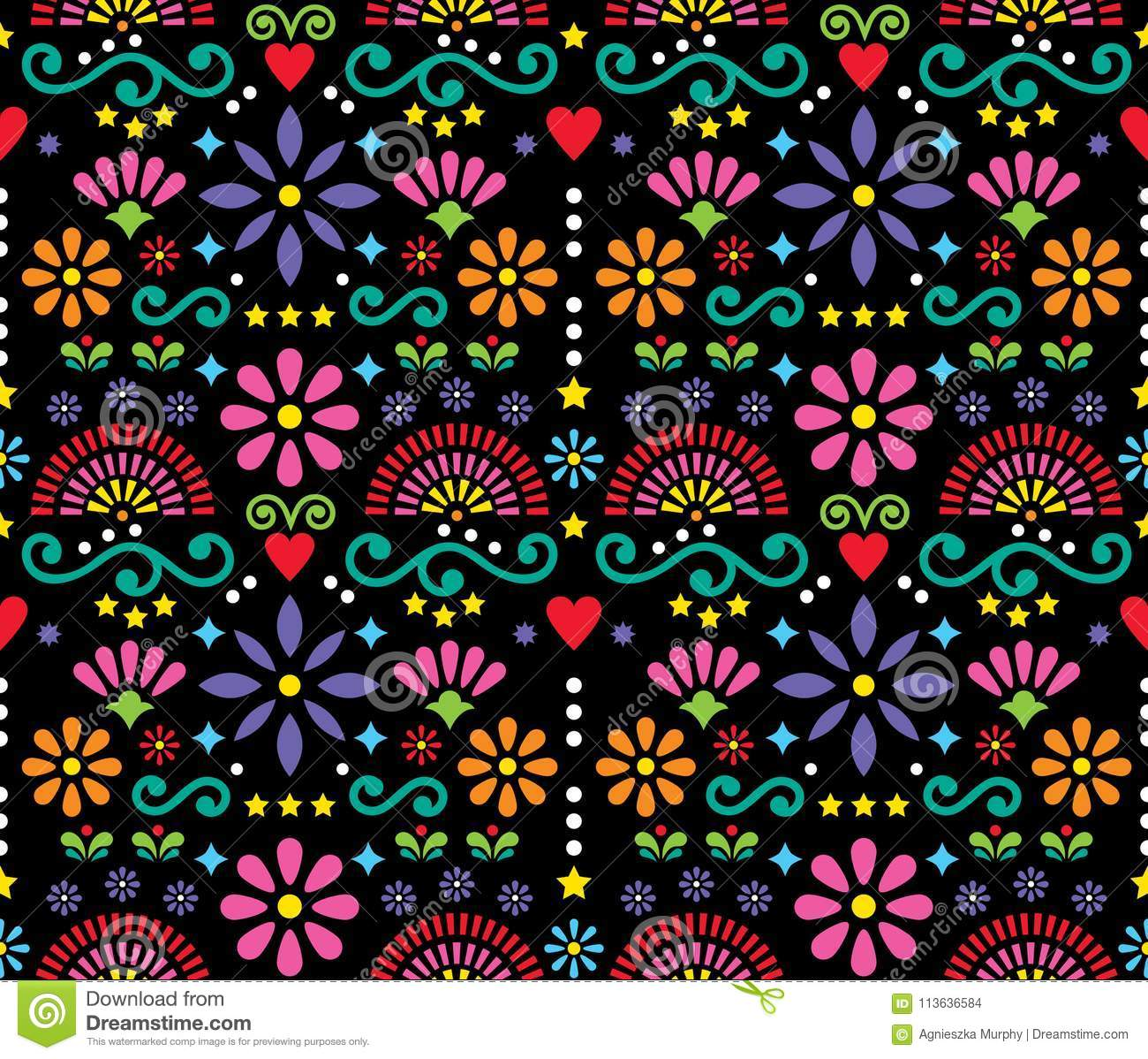 Happy flowers and abstract shapes ornament, retro symmetric background on black