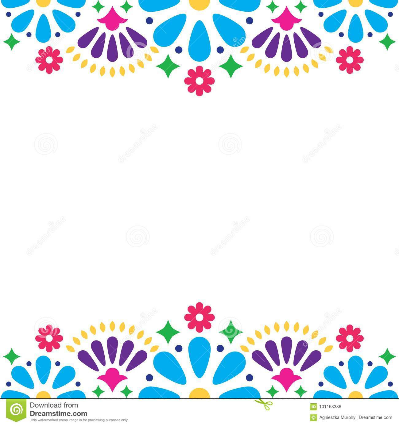 Folk Art Pattern Decor Inspired By Traditional Form Mexico On White Background: Mexican Wedding Invitation Backgrounds At Reisefeber.org