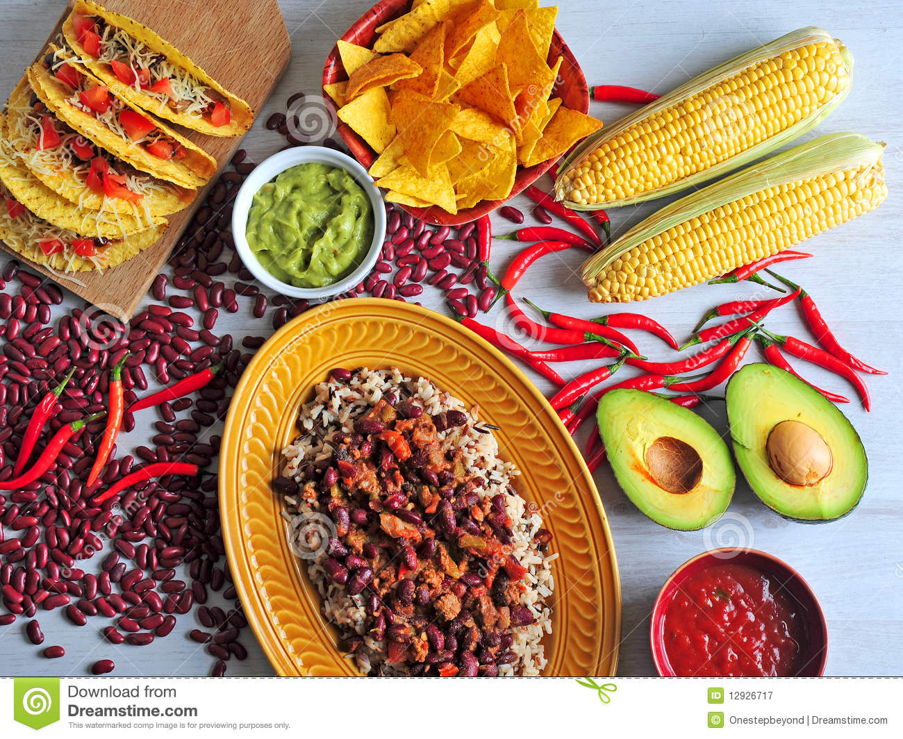 Dinner table with mexican food - Mexican Food Royalty Free Stock Photography Image 12926717