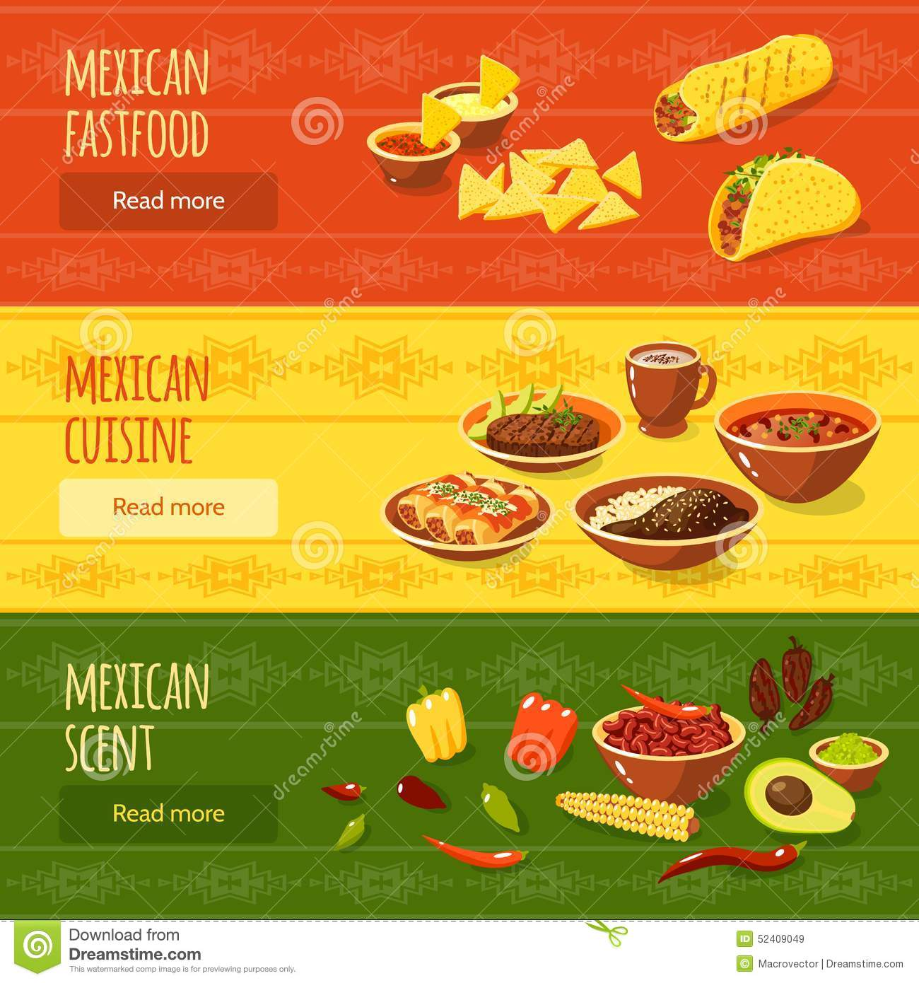 Mexican food banner set stock vector illustration of - Elements cuisine independants ...