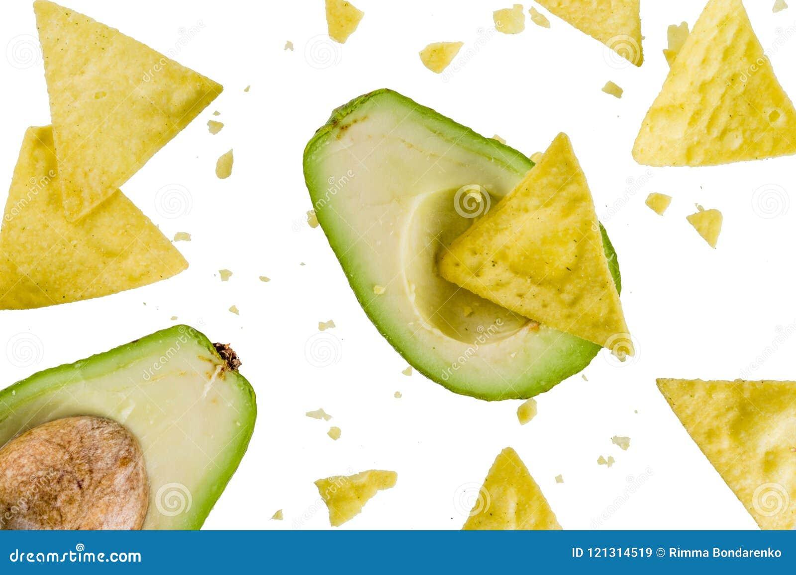 Mexican food concept, guacamole and nachos snack, avocado and to