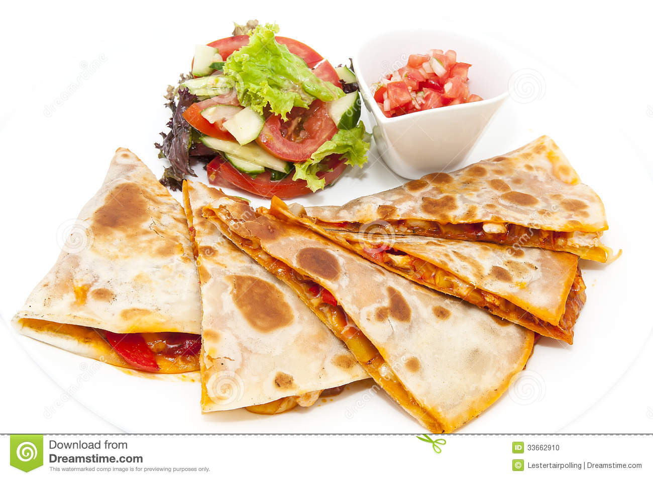 Mexican food dishes at the restaurant on a white background.