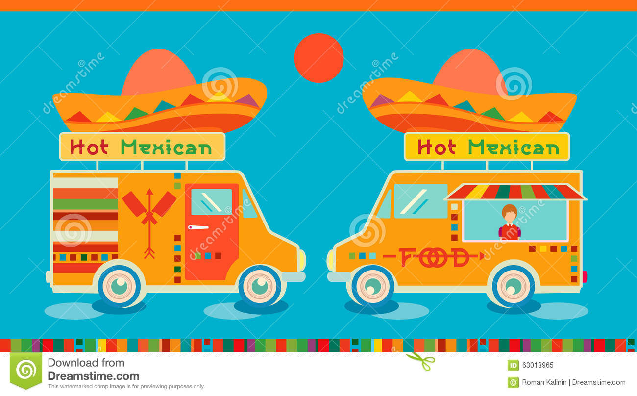 Mexican Food Icon Food Car. Hot Fast Food Symbol, Auto Restaurant ...