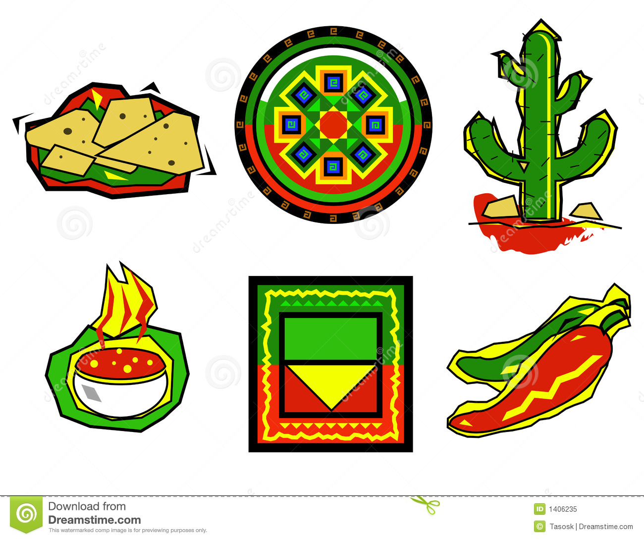 Mexican Food Icons Royalty Free Stock Photo - Image: 1406235