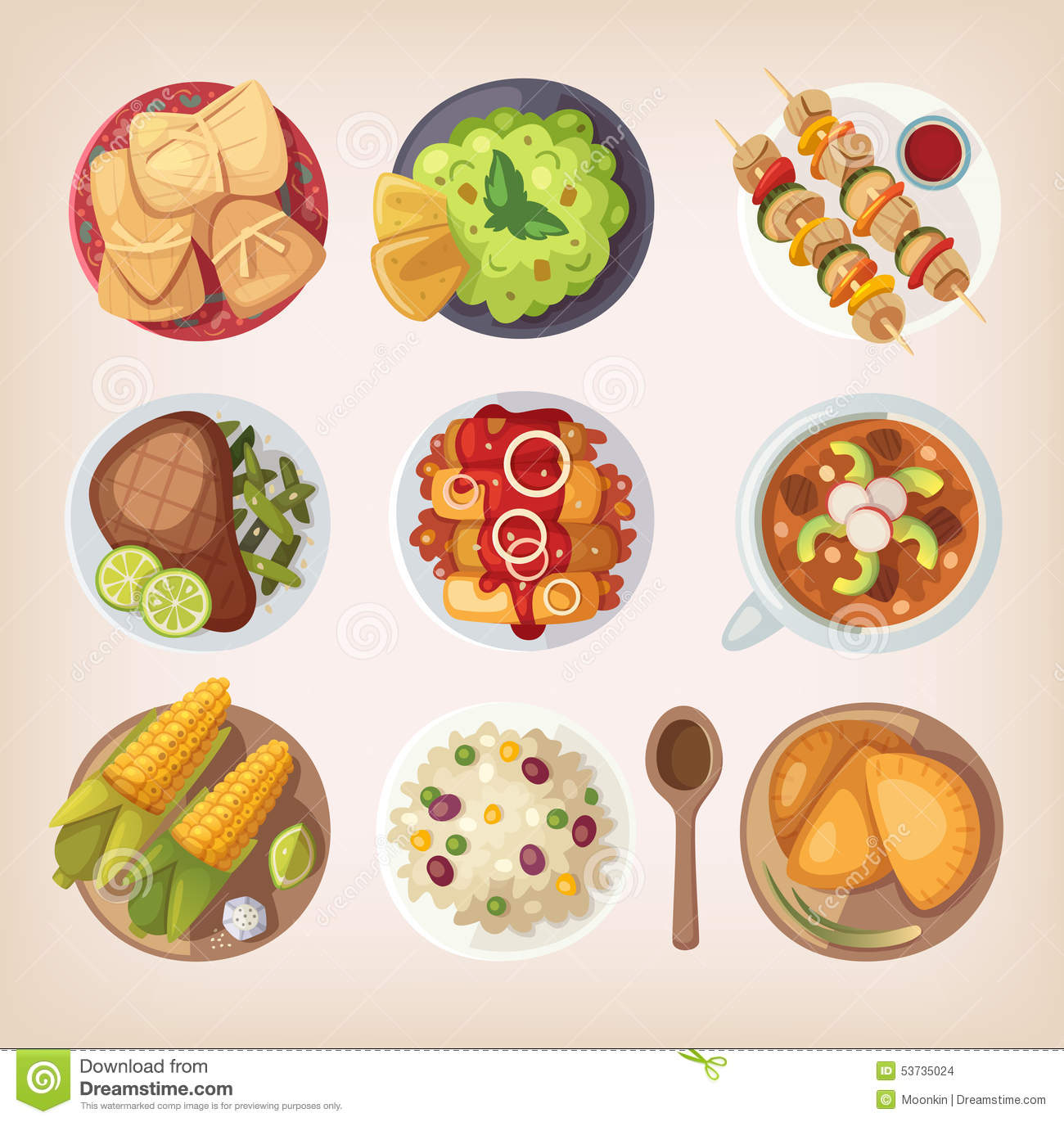 Mexican Food Icons Stock Vector - Image: 53735024