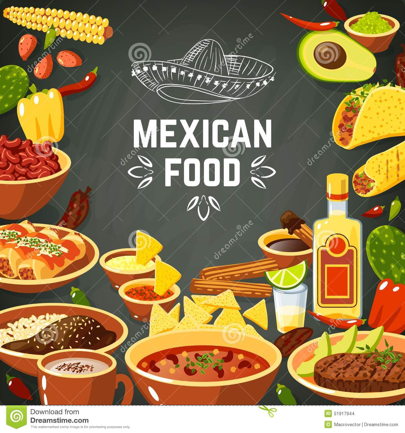 Mexican food background with traditional spicy meal and chalkboard hat ...