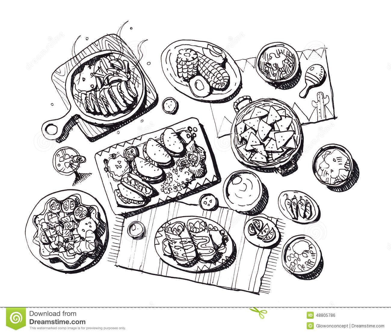 Mexican Food Illustration Stock Image 48805786