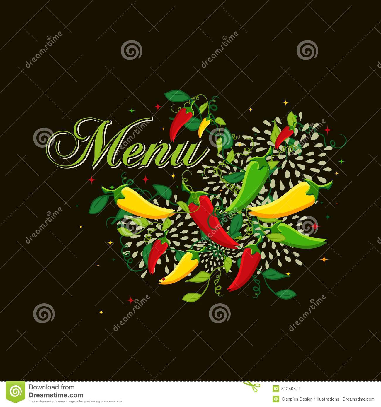 Mexican food menu cover design stock vector image