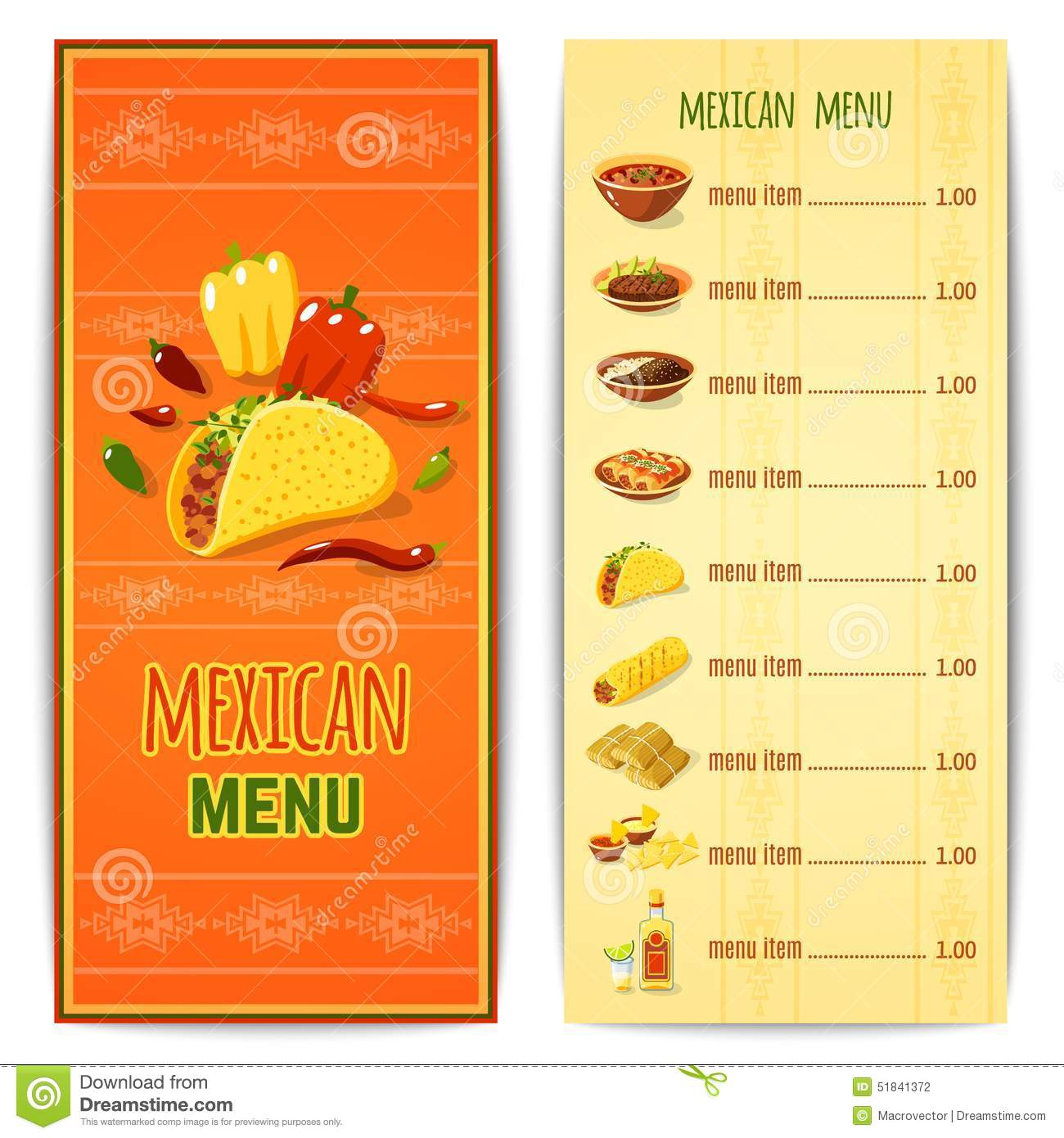Mexican Food Menu Stock Vector Illustration Of Background 51841372