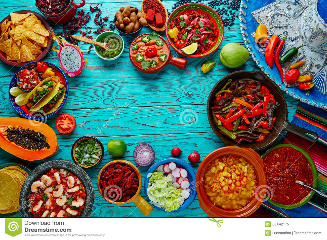 Mexican Food Mix Colorful Background Mexico Stock Photo - Image: 66442175