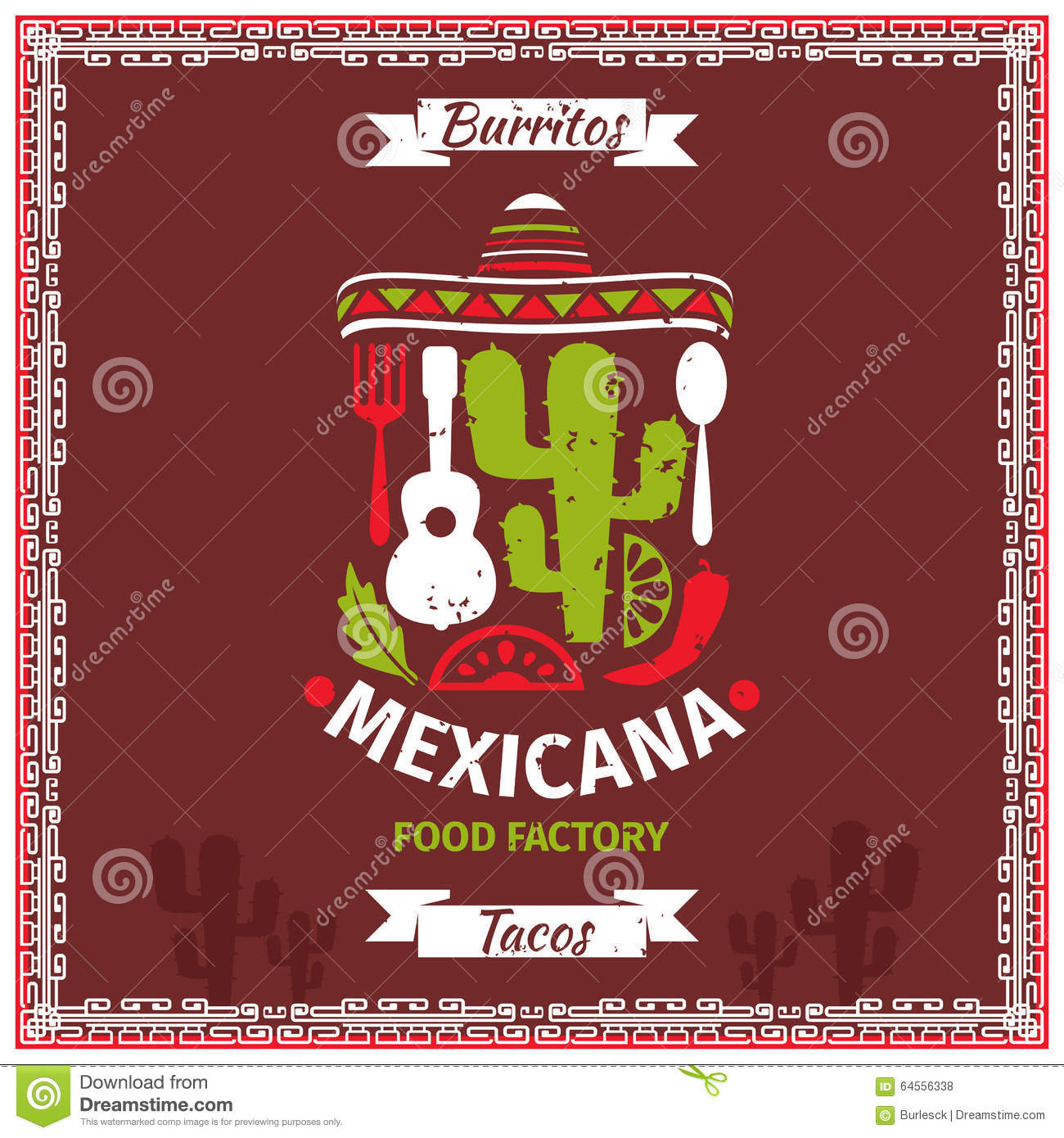 Mexican Food Poster Vector Template Design Stock Vector