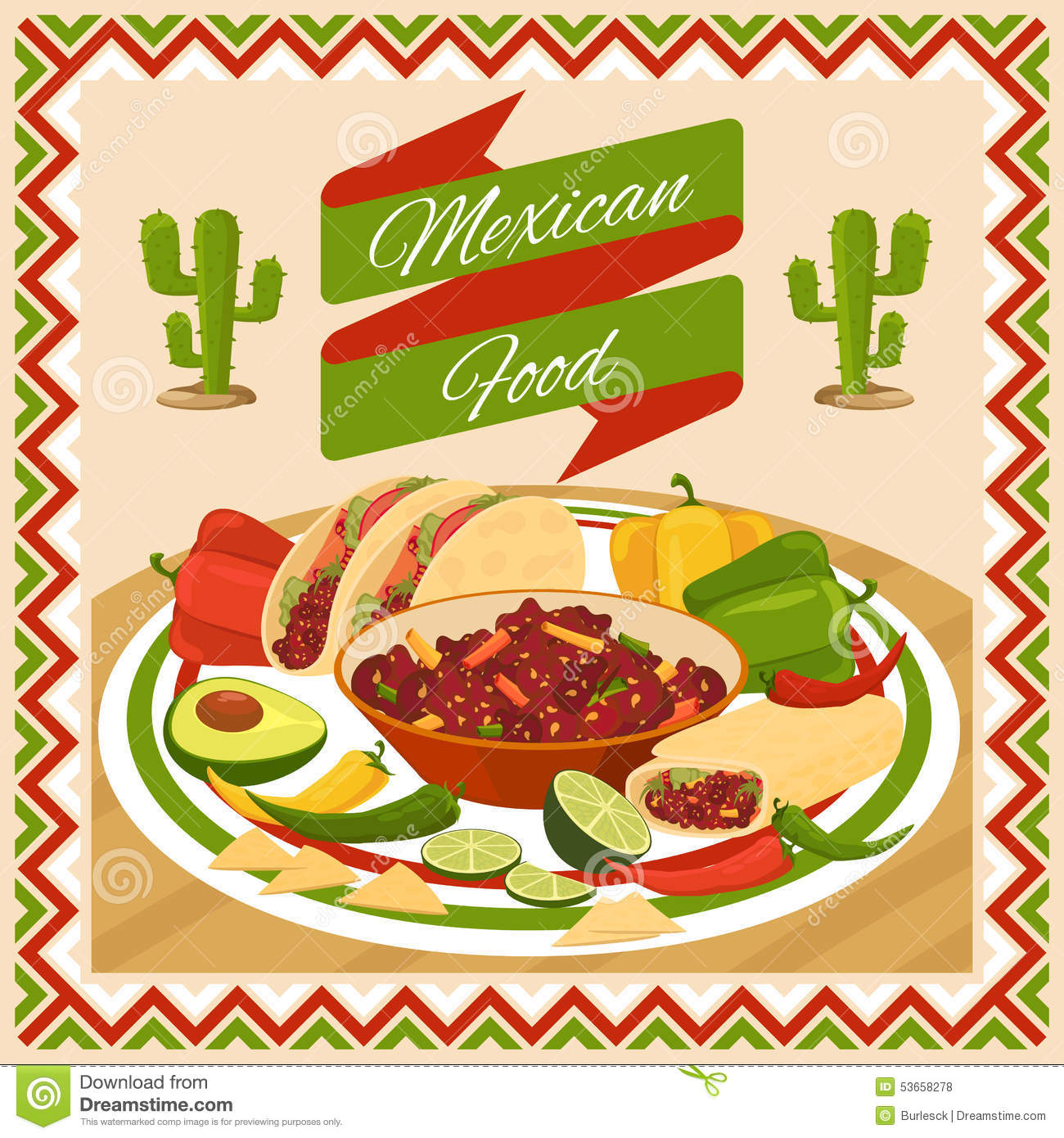 Mexican Style Kitchen Design Mexican Food Poster Stock Vector Image 53658278