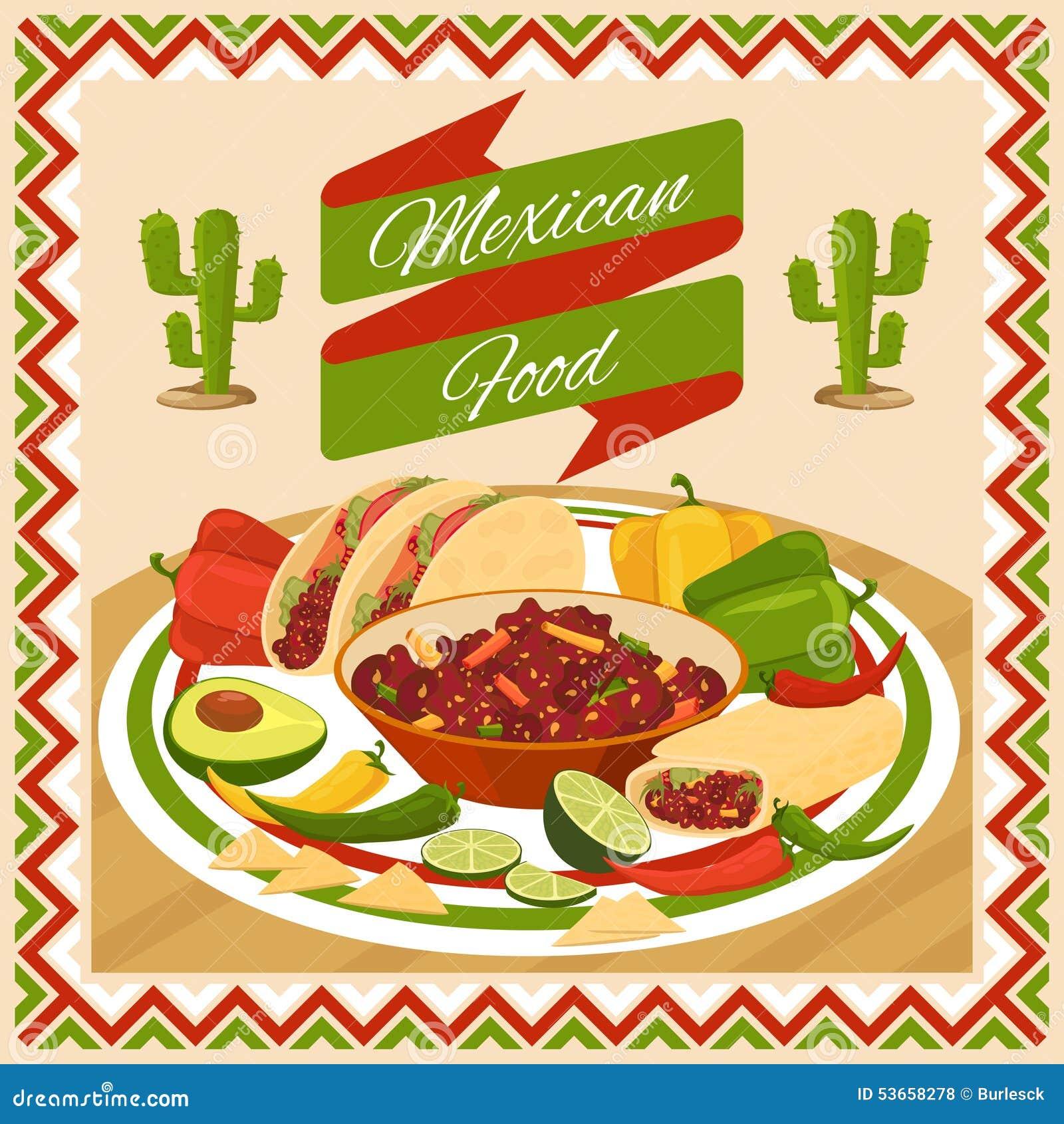 Mexican food poster stock vector image 53658278 - Carteles de cocina ...
