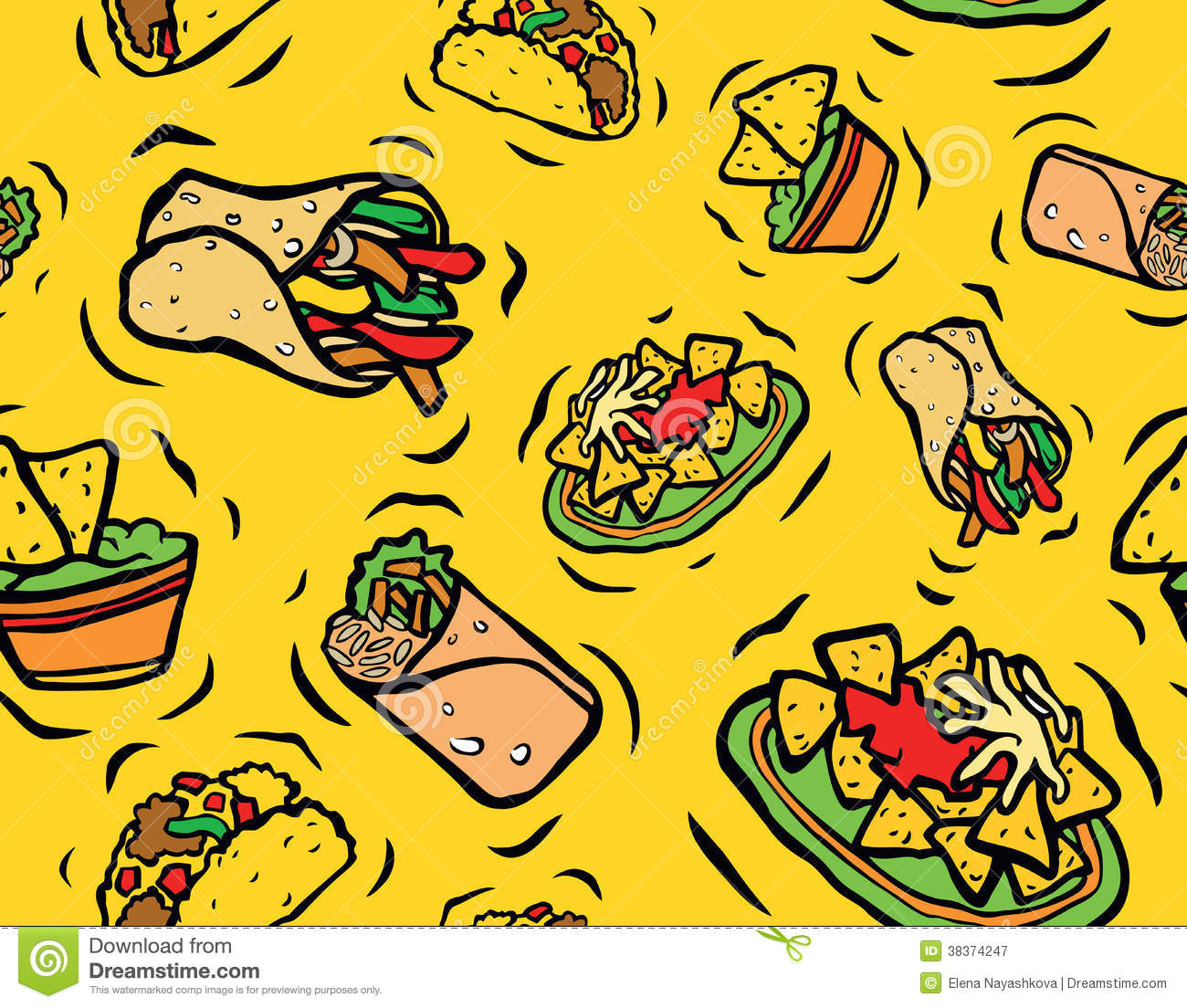 mexican food seamless pattern stock illustration - illustration of