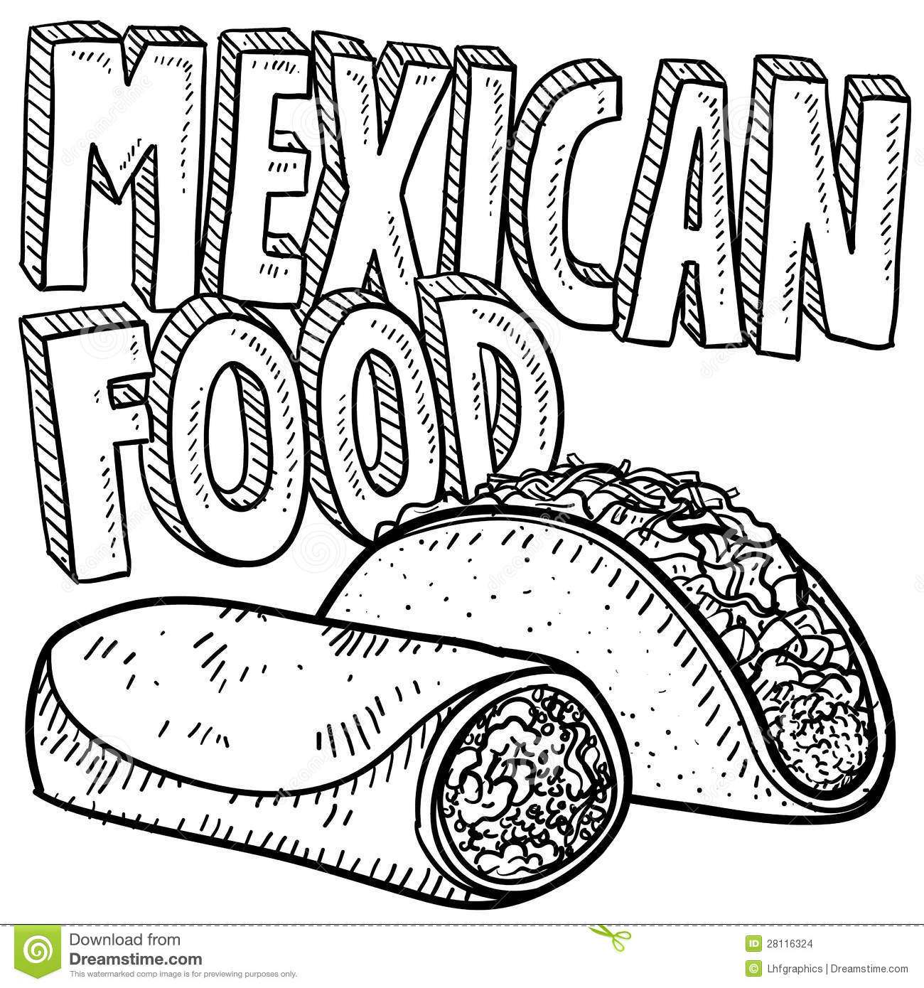 ... sketch, including text message, burrito, and tacos in vector format