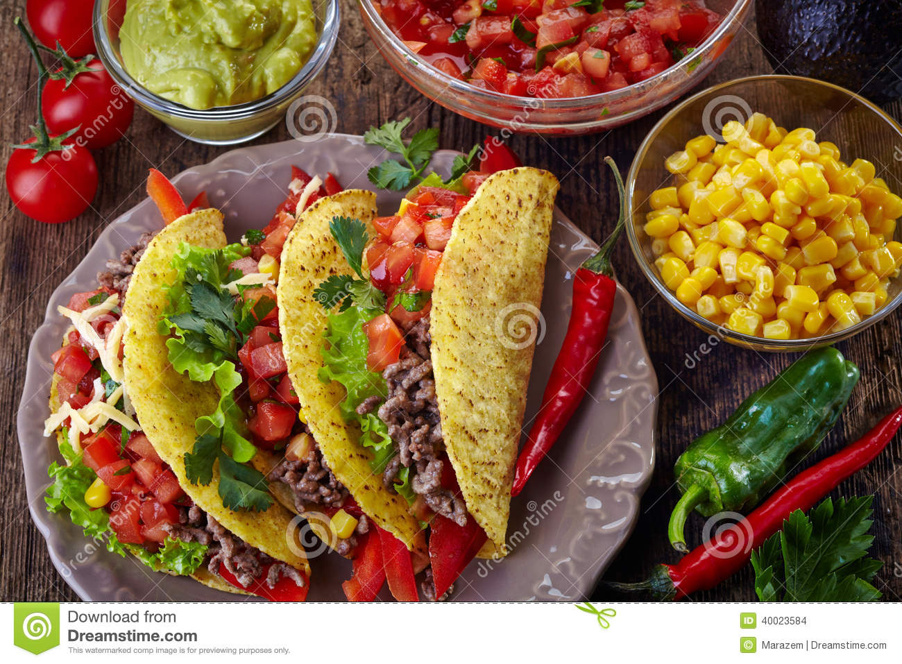 mexican food tacos stock photo image of cuisine mince 40023584. Black Bedroom Furniture Sets. Home Design Ideas