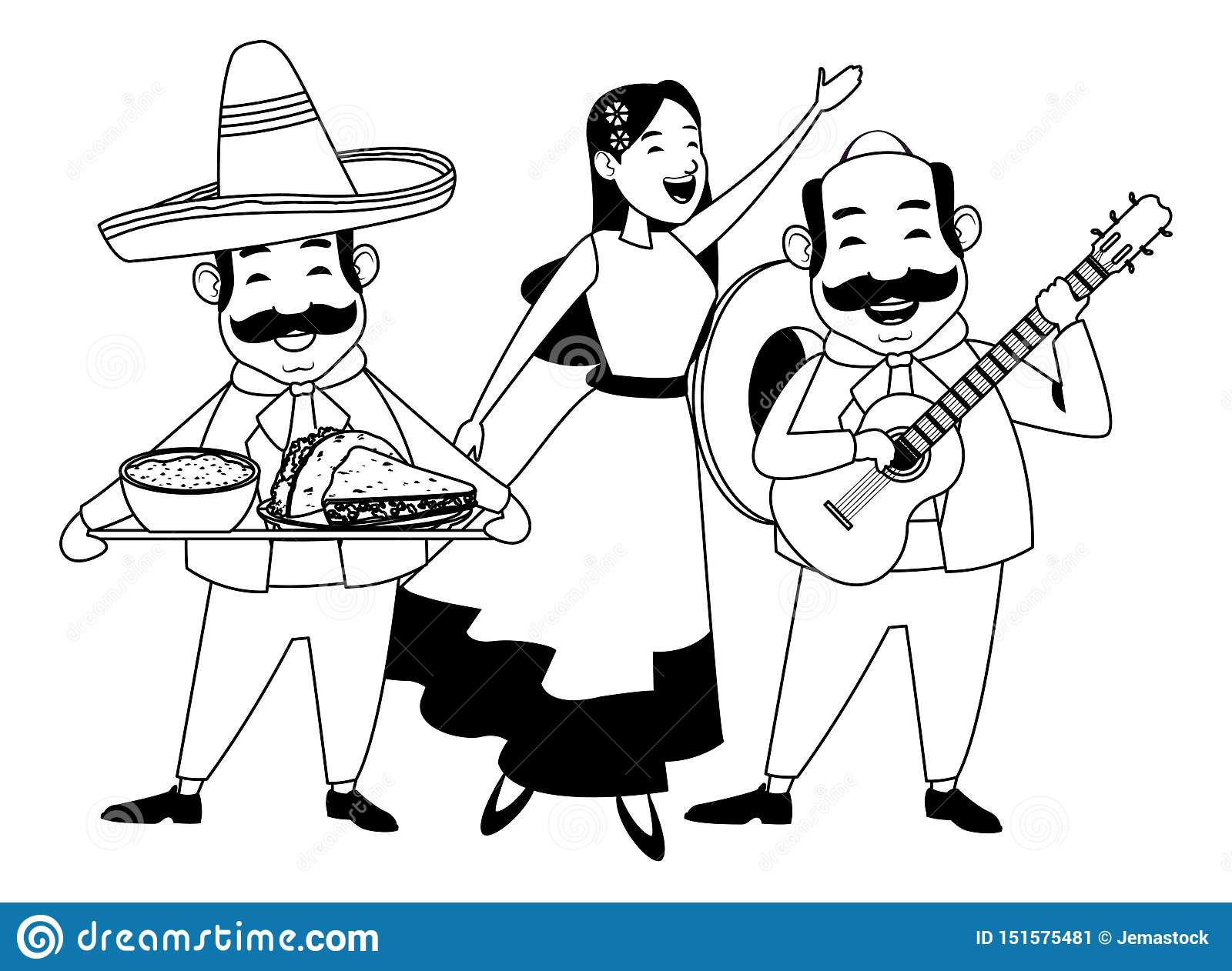 Mexican food and tradicional culture in black and white