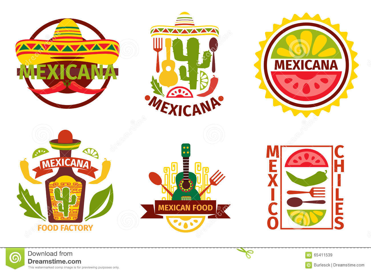 Mexican food vector logo labels emblems stock vector for Mexican logos pictures