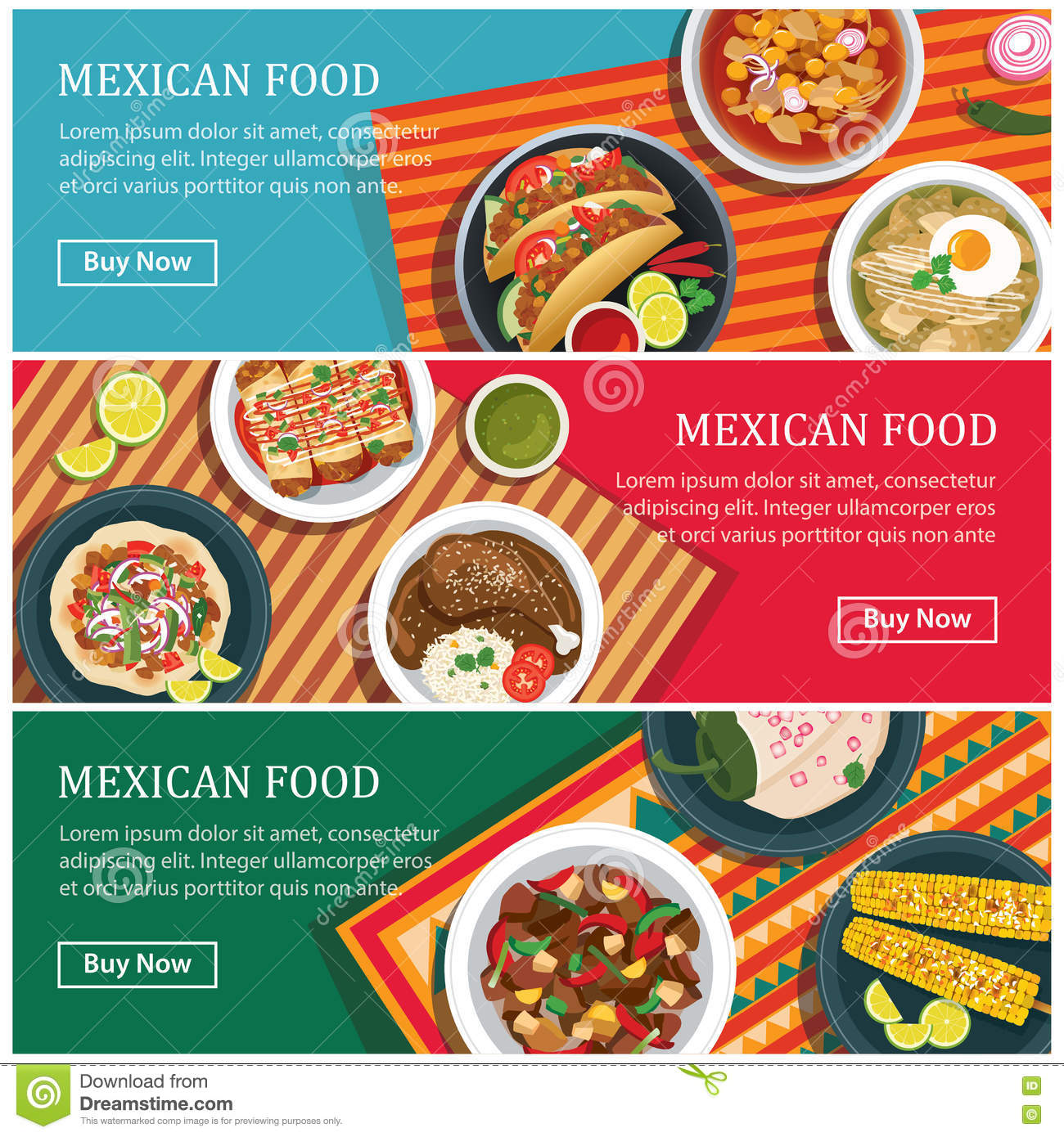 mexican food web banner flat design stock vector  image: 73070951