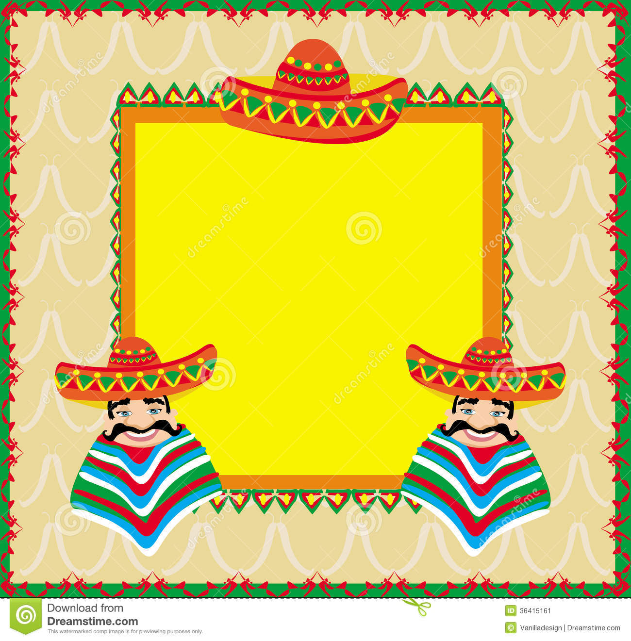 mexican frame with man in sombrero - Mexican Frame