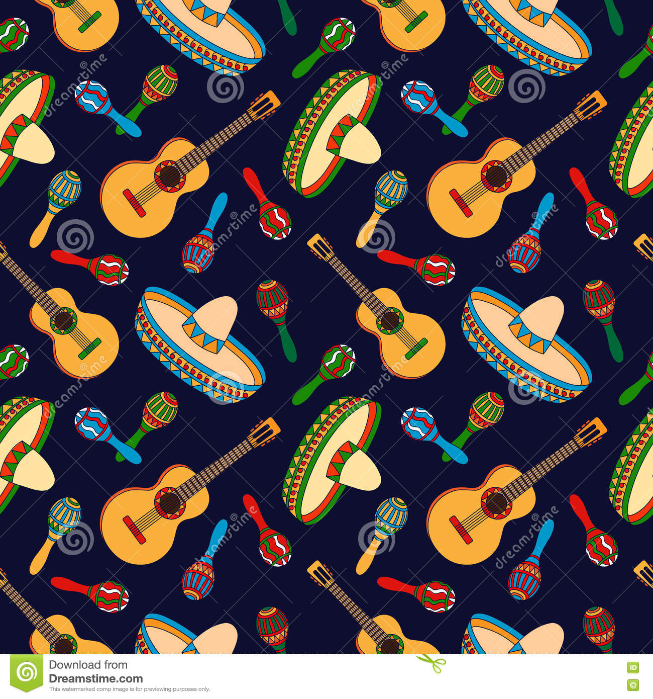 mexican hand drawn seamless pattern stock vector - illustration of