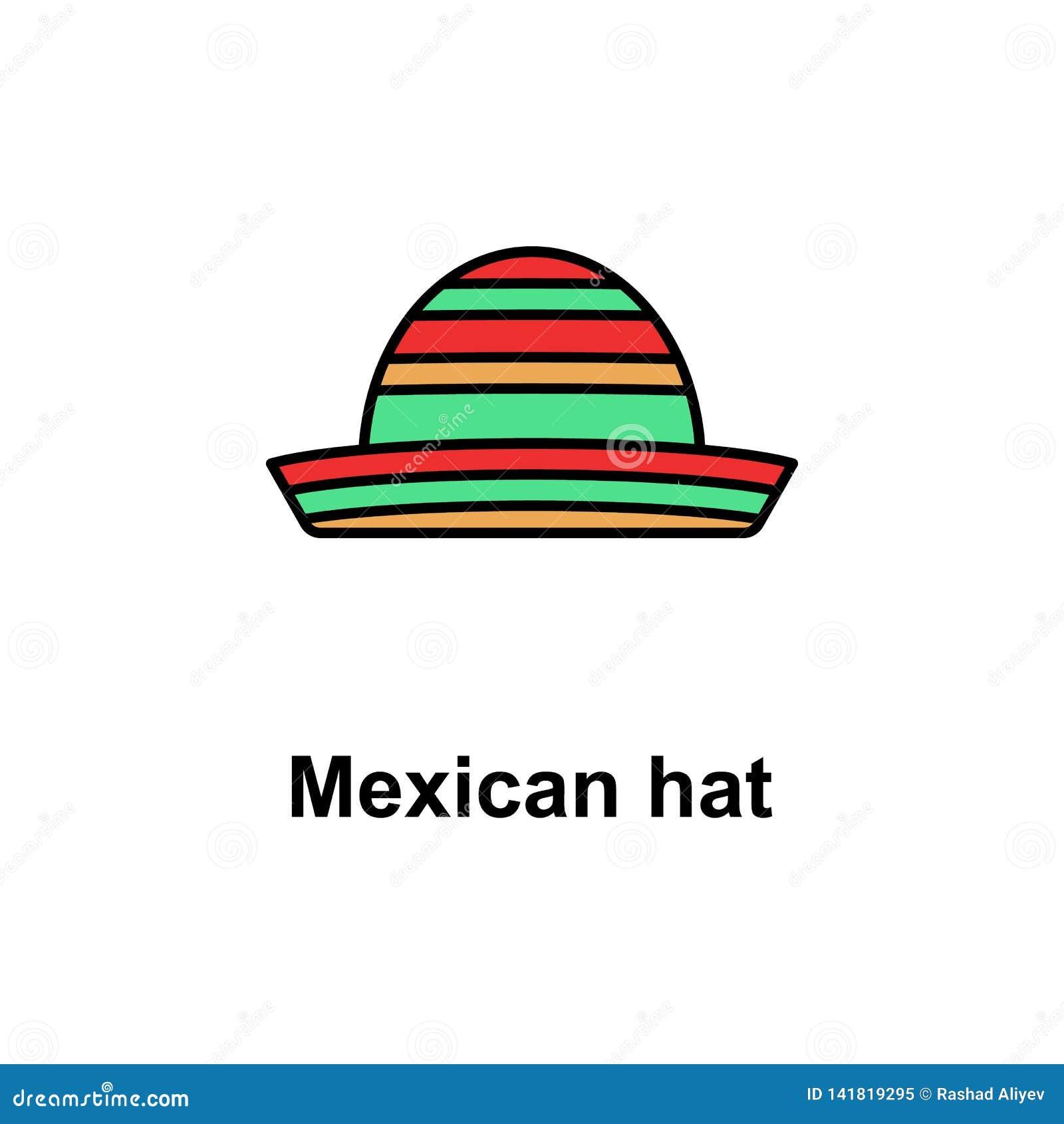 Mexican hat icon. Element of Cinco de Mayo color icon. Premium quality graphic design icon. Signs and symbols collection icon for