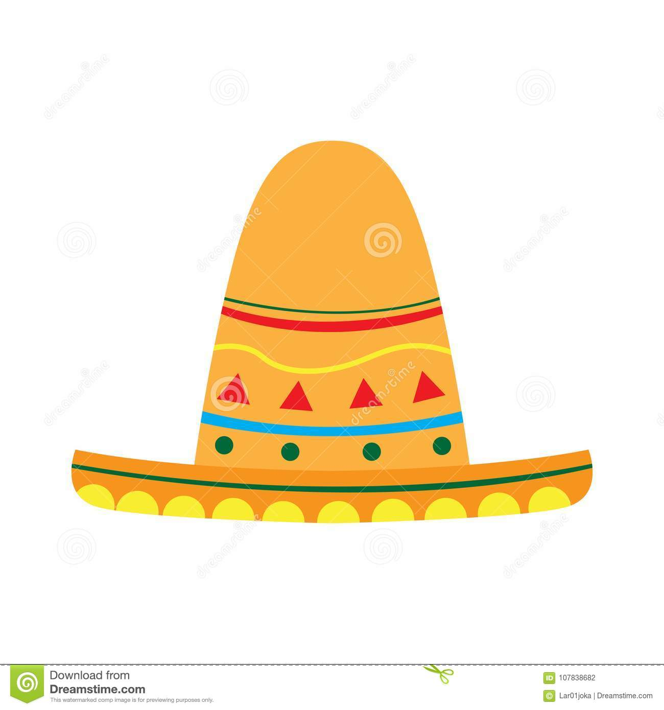 Mexican Hat Icon Stock Vector Illustration Of Spanish 107838682