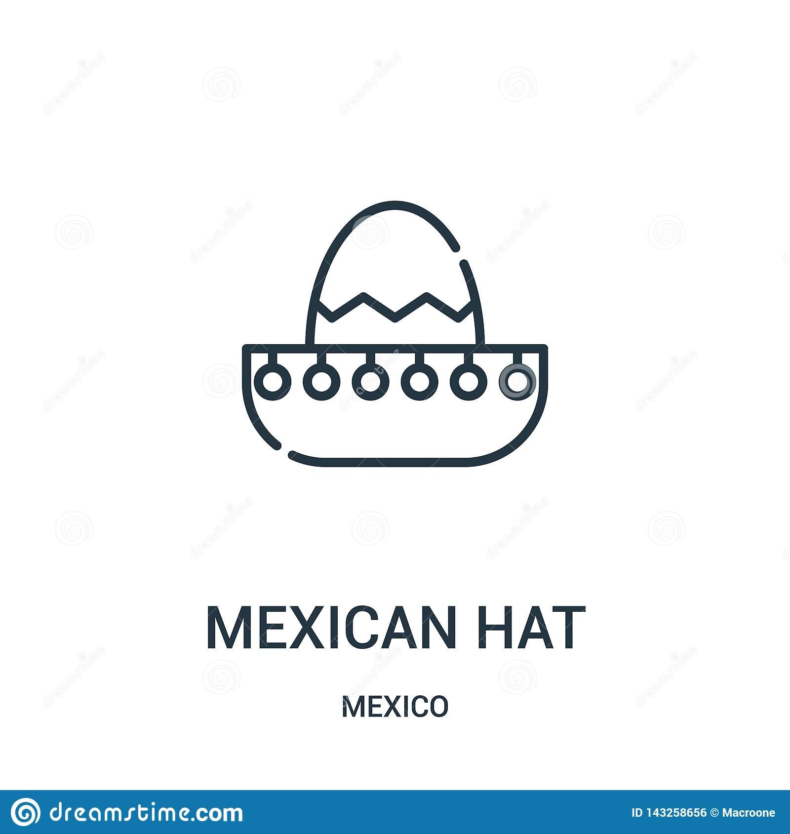 mexican hat icon vector from mexico collection. Thin line mexican hat outline icon vector illustration