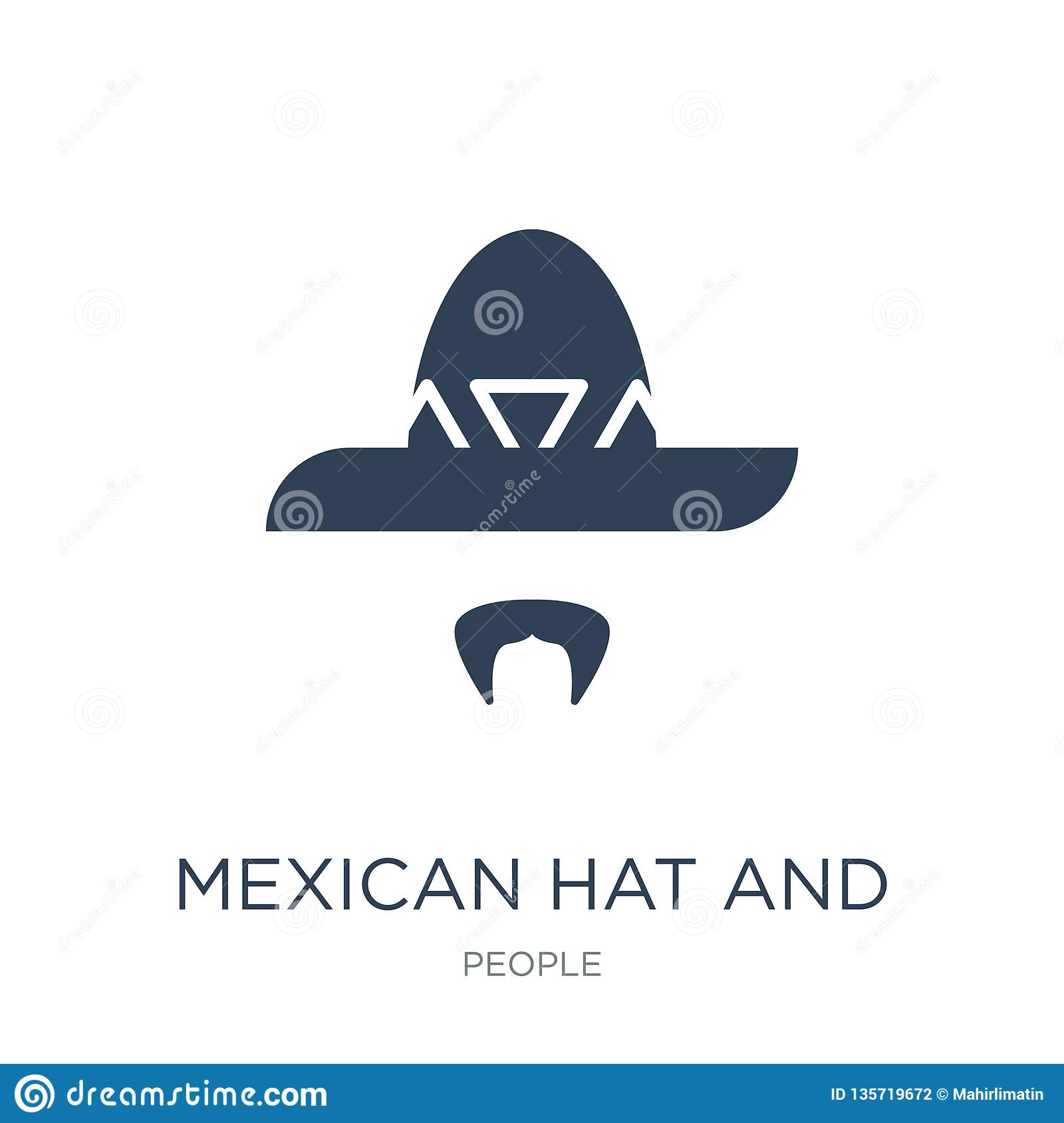 mexican hat and mustache icon in trendy design style. mexican hat and mustache icon isolated on white background. mexican hat and