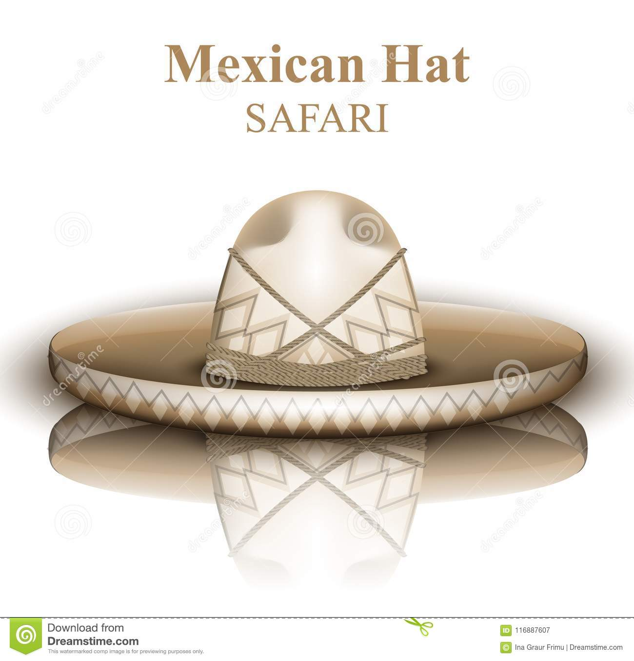 Mexican hat Vector realistic. Detailed 3d illustrations
