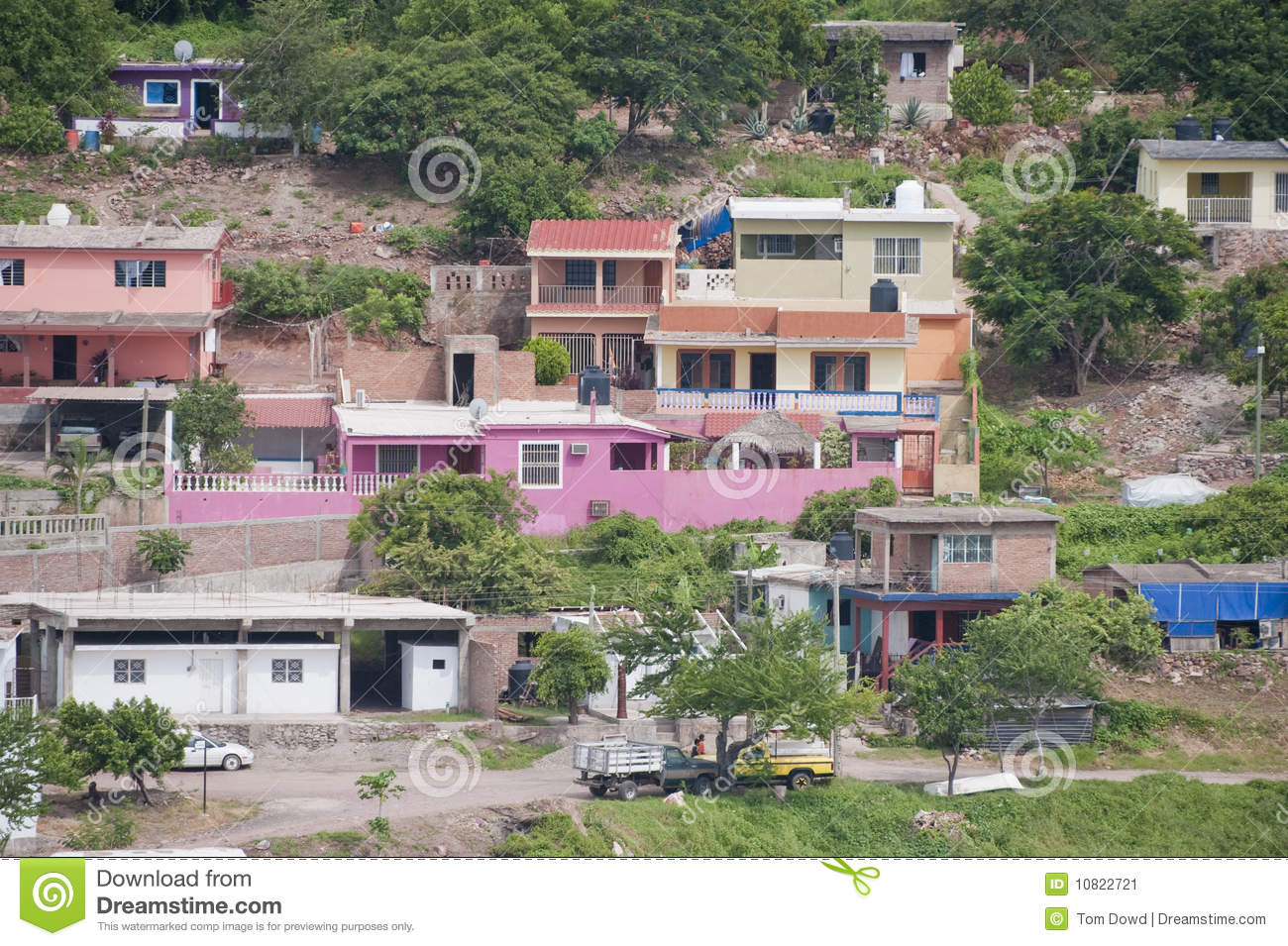 Mexican Houses On Hillside Stock Image Image Of Urban