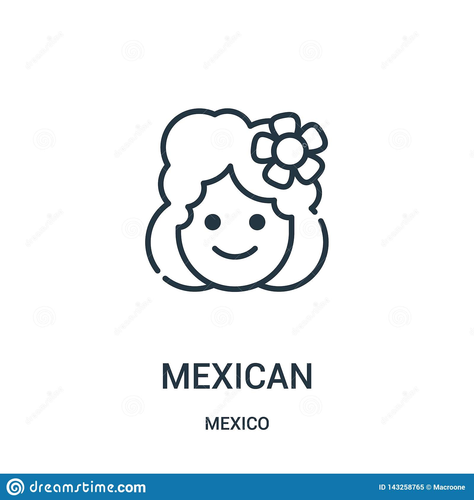 mexican icon vector from mexico collection. Thin line mexican outline icon vector illustration