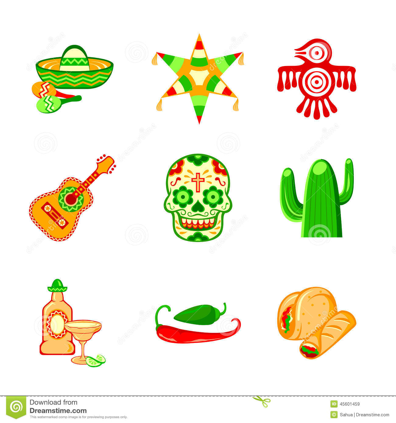 Colorful culture symbols, food and objects of Mexico.