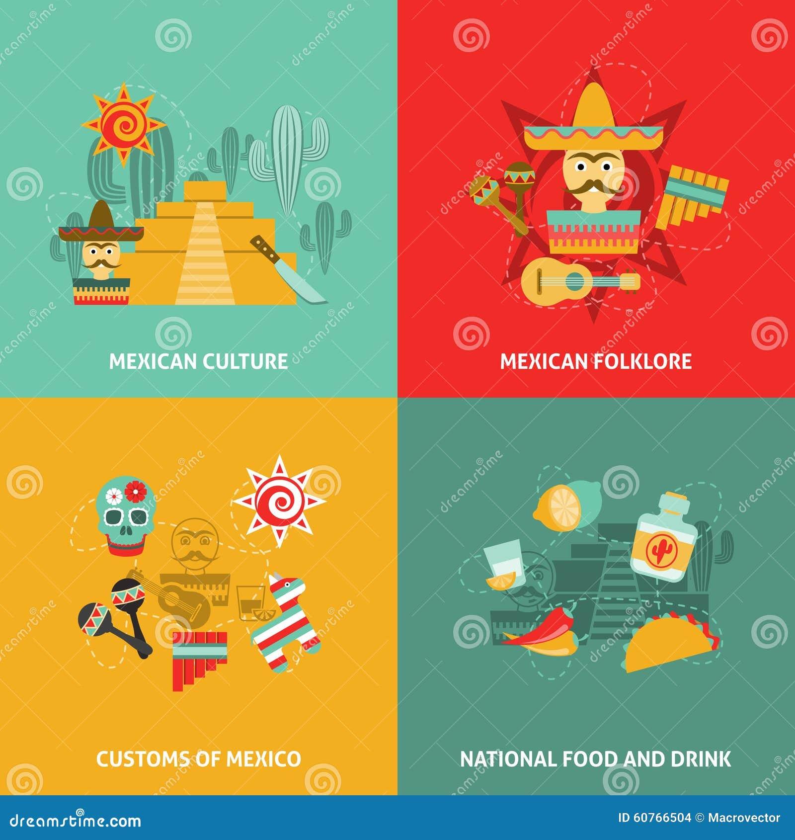 Mexican Culture Symbols Flat Icons Set Vector Illustration