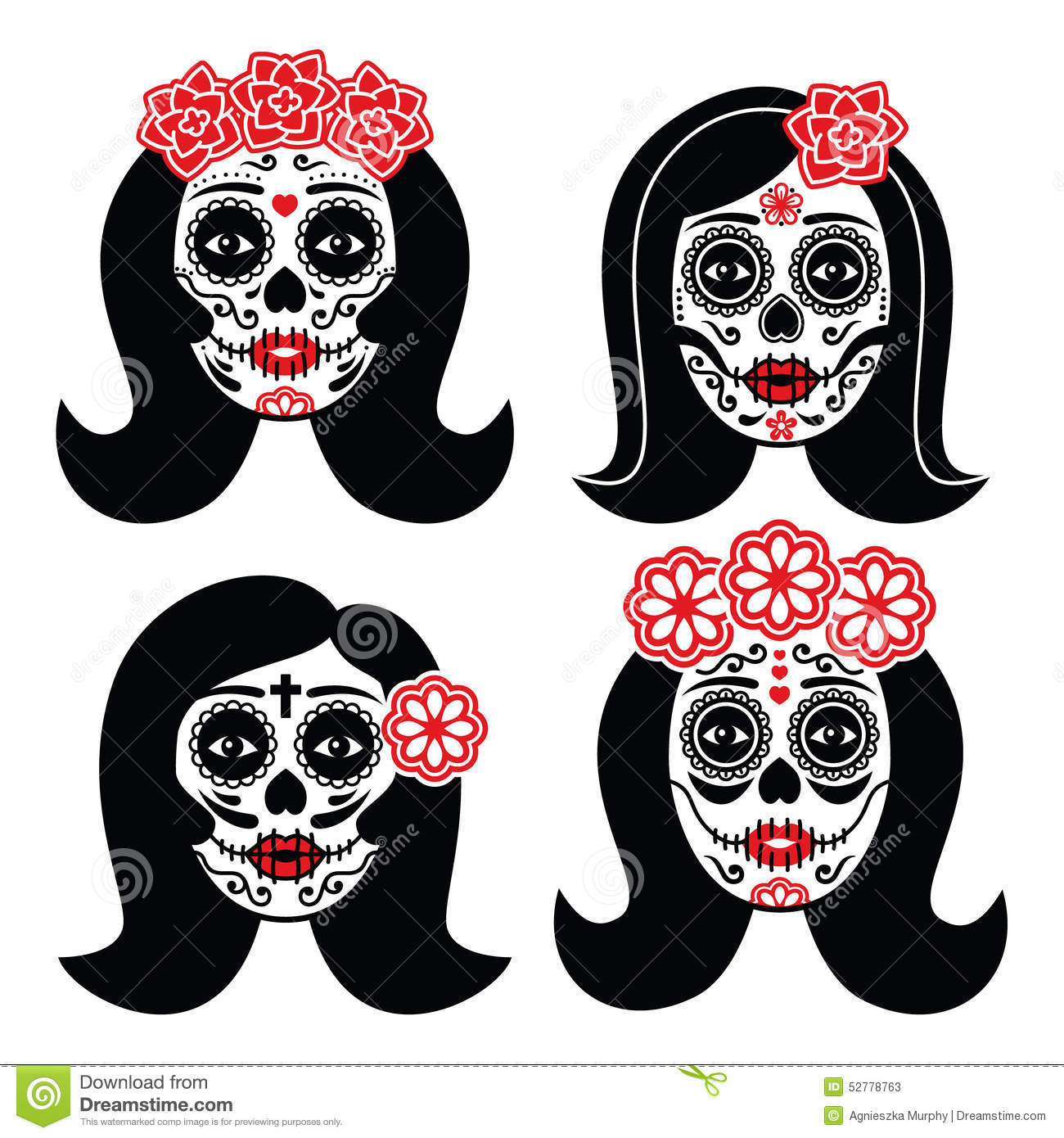 mexican la catrina day of the dead girl skull stock. Black Bedroom Furniture Sets. Home Design Ideas