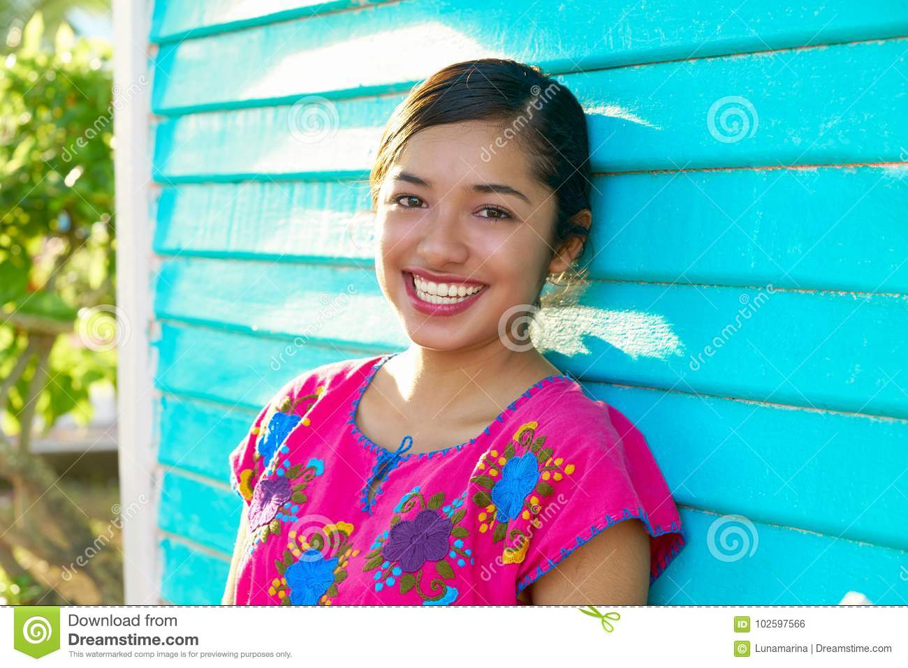 Mexican latin woman with mayan dress