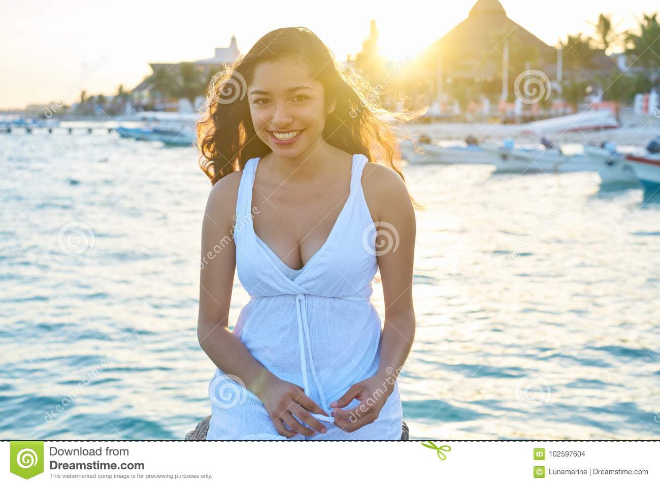 Mexican latin woman in Riviera Maya