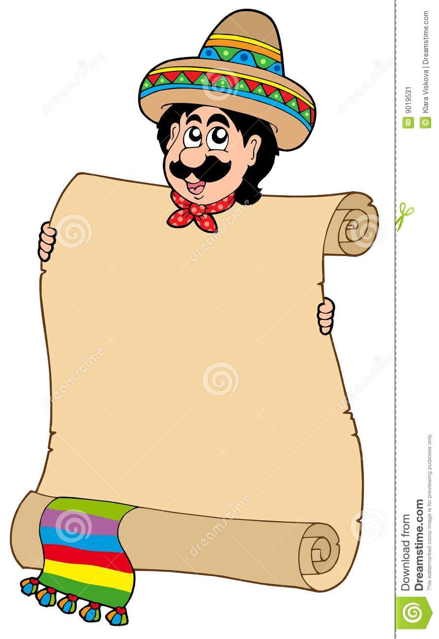 Mexican Man With Scroll Stock Image - Image: 9019531