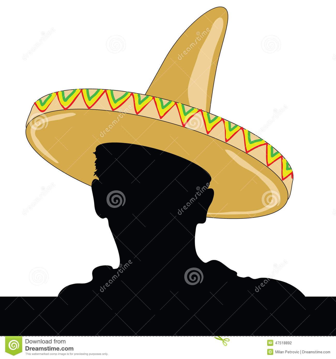 Mexican Man Silhouette With Sombrero Stock Vector - Image ...