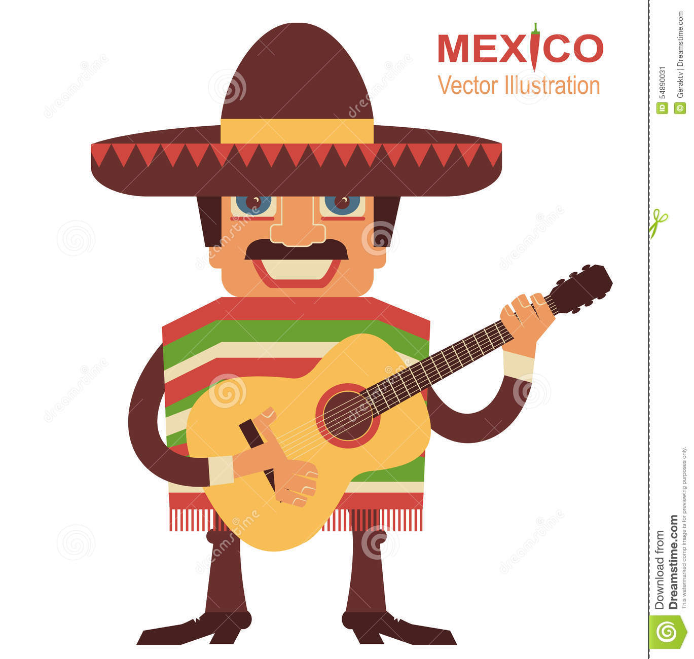 Mexican Man Singer With Guitar Stock Vector - Image: 54890031