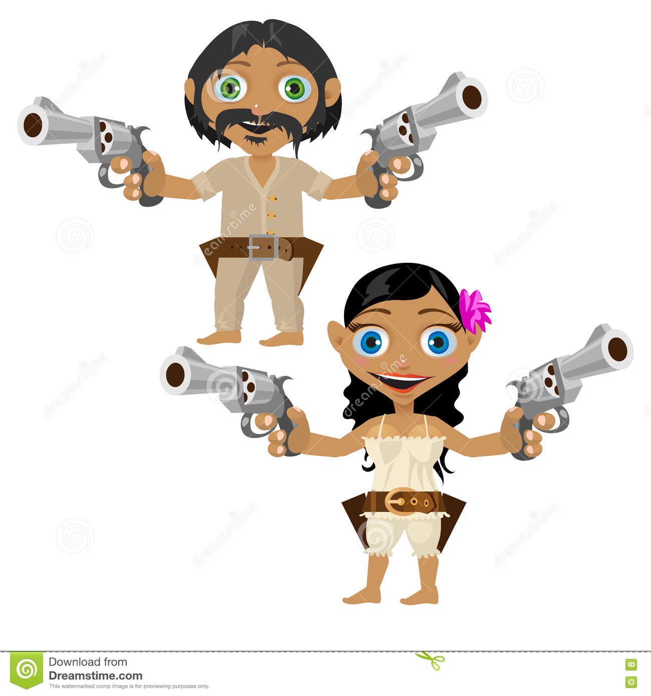 Mexican Man And Woman With Guns, Vector Characters Stock ...