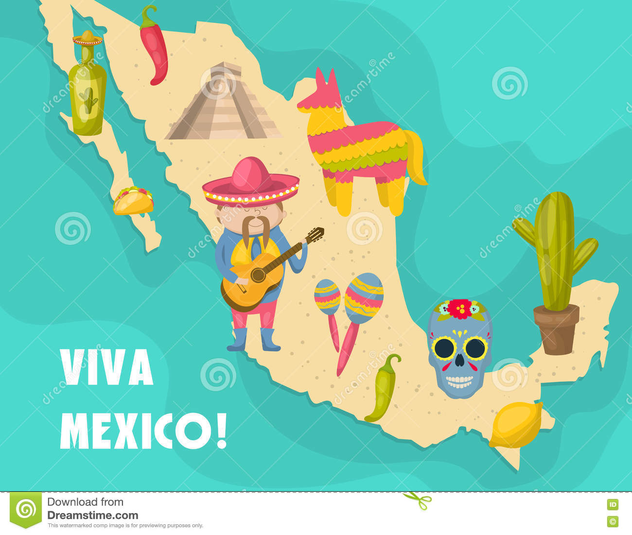 Mexican Map Poster Vector Image 74969505 – Mexicanmap