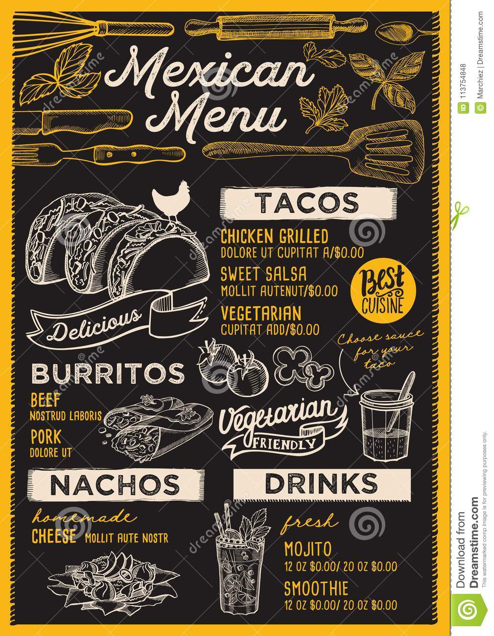 Mexican Menu Restaurant Food Template Stock Vector Illustration Of Party Chalkboard 113754848