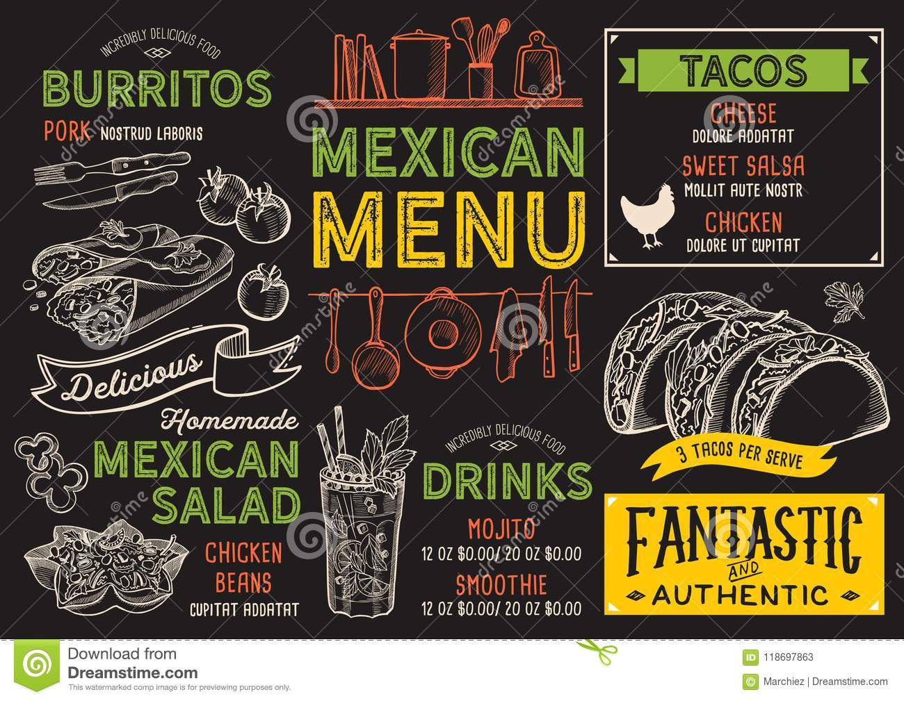 mexican menu restaurant, food template. stock vector - illustration