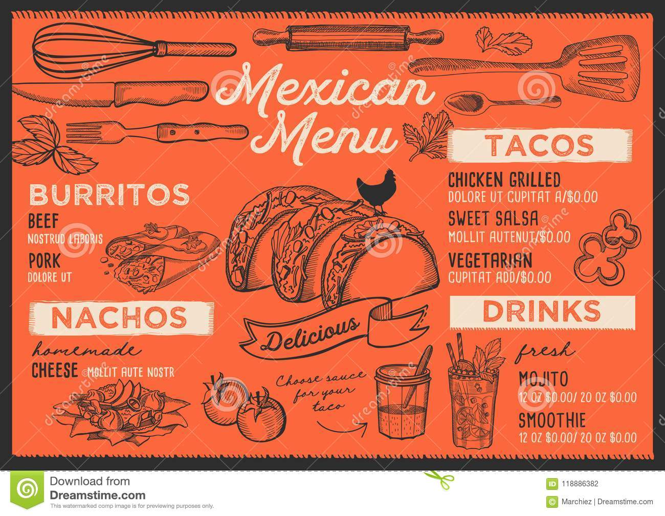 Mexican Menu Restaurant Food Template Stock Vector Illustration
