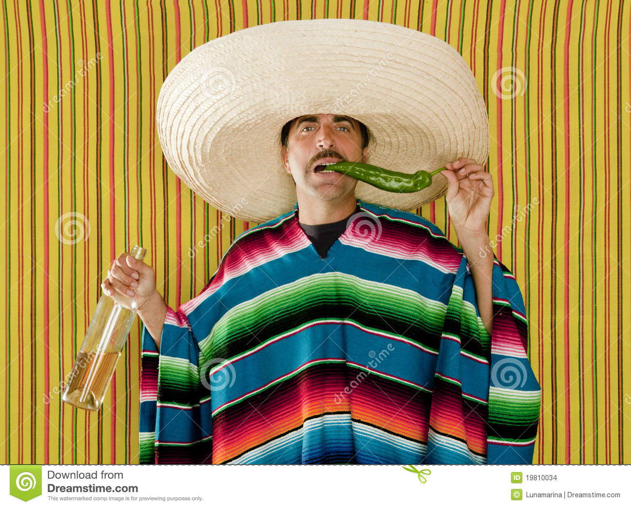 ... Chili Drunk Tequila Sombrero Man Stock Images - Image: 19810034