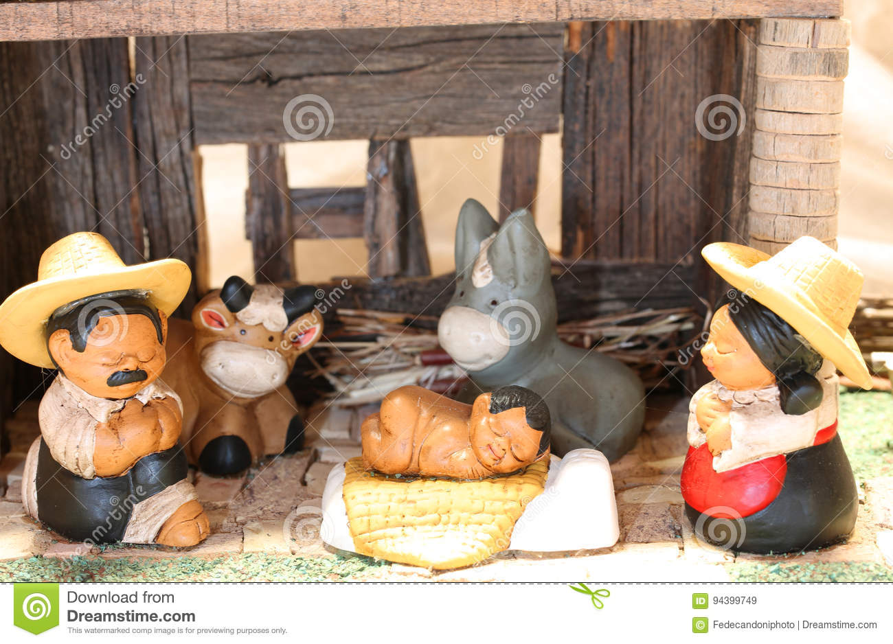 Download Mexican Nativity Set With The Holy Family With The Statues Of Th  Stock Image
