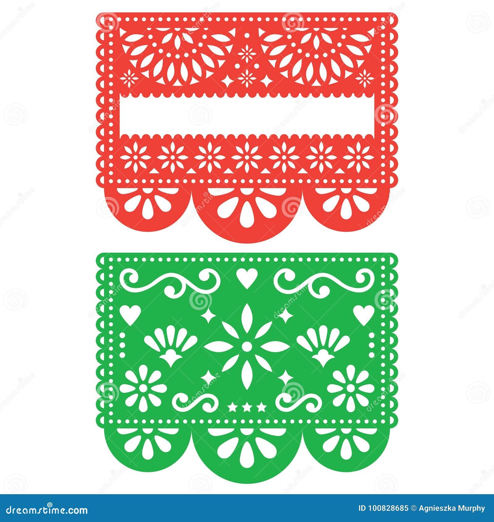 Mexican Papel Picado Vector Template Design Set Cutout Paper